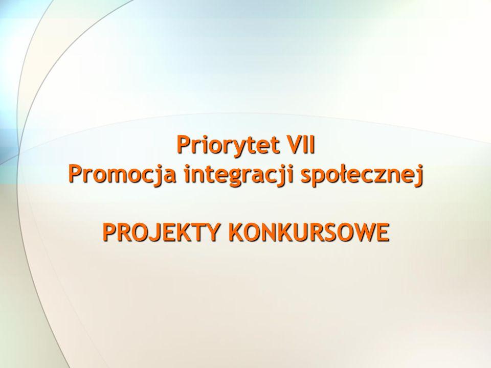 Priorytet VII Promocja integracji społecznej PROJEKTY KONKURSOWE