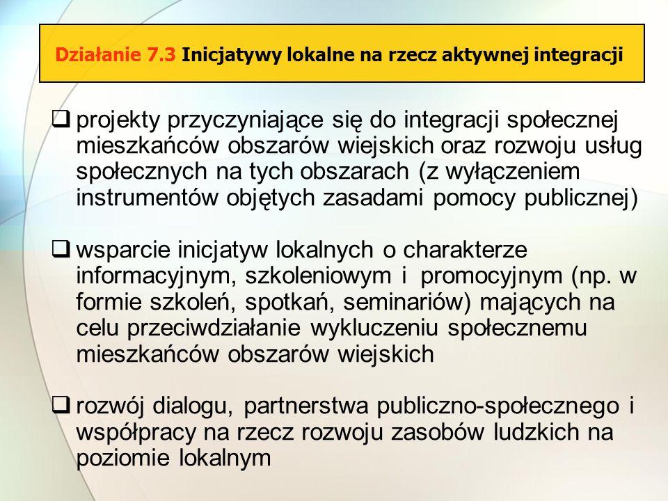 projekty przyczyniające się do integracji społecznej mieszkańców obszarów wiejskich oraz rozwoju usług społecznych na tych obszarach (z wyłączeniem in