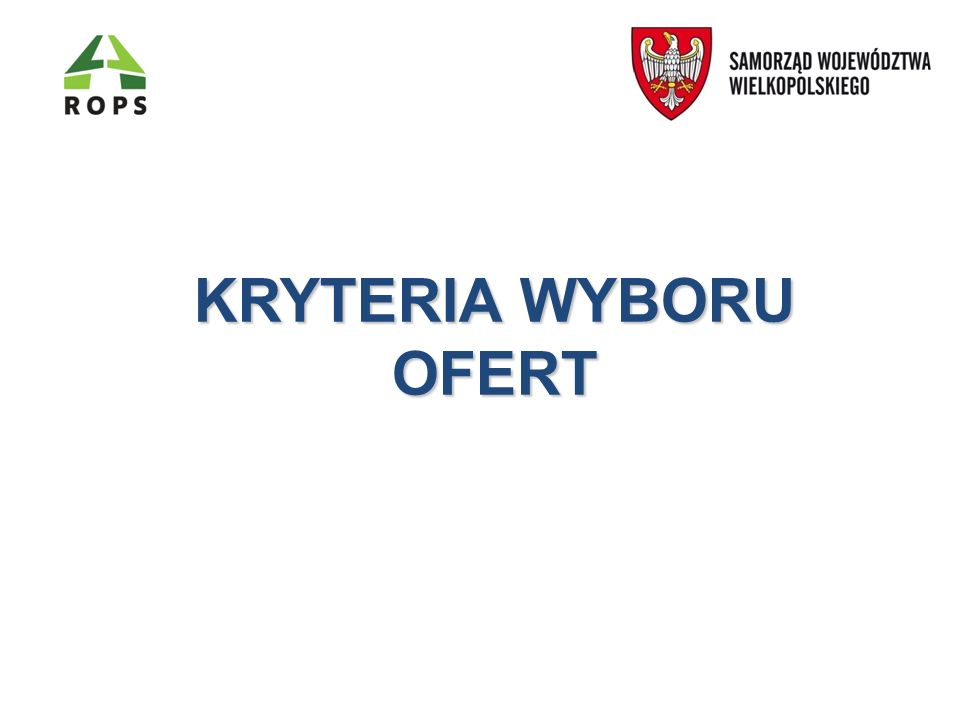KRYTERIA WYBORU OFERT