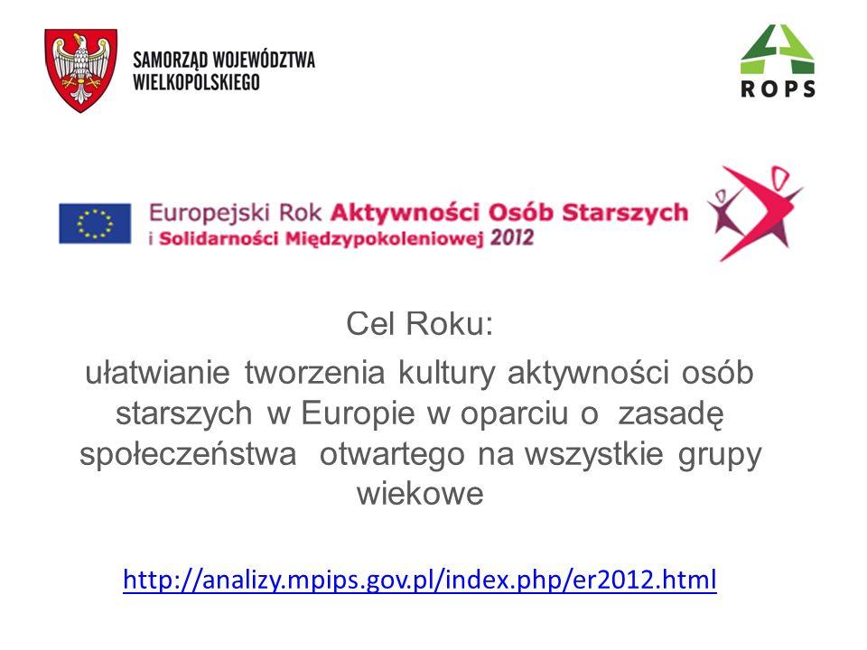 Cel Roku: ułatwianie tworzenia kultury aktywności osób starszych w Europie w oparciu o zasadę społeczeństwa otwartego na wszystkie grupy wiekowe http://analizy.mpips.gov.pl/index.php/er2012.html