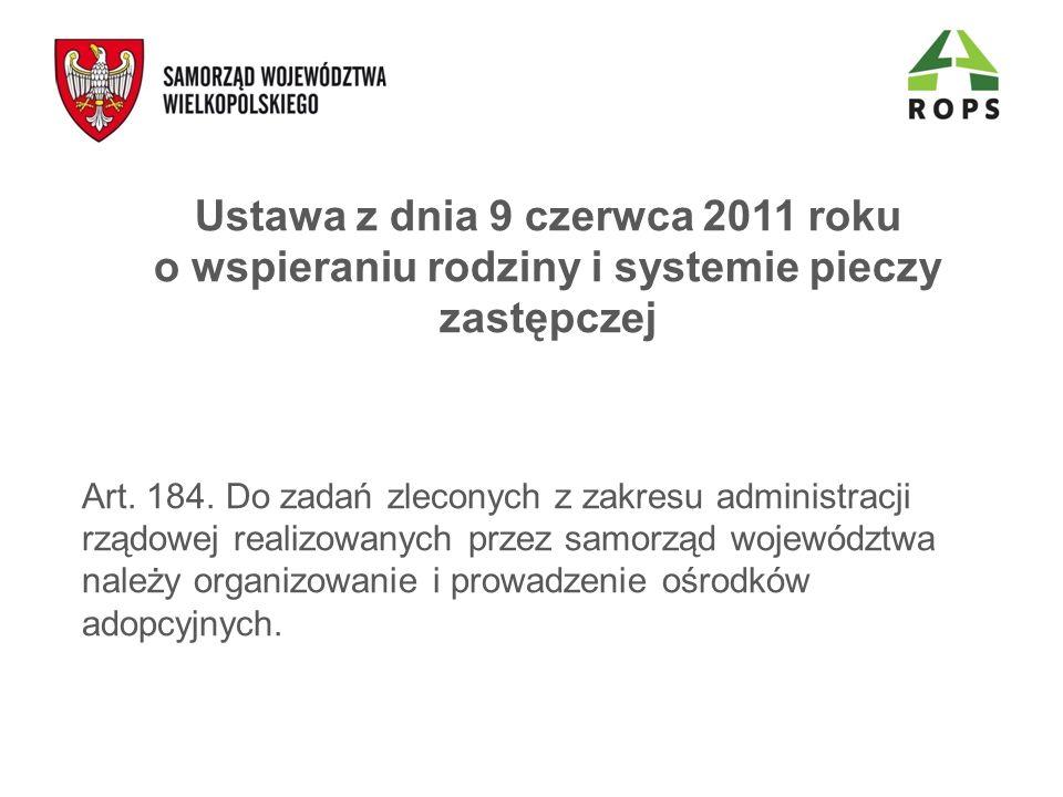 Ustawa z dnia 9 czerwca 2011 roku o wspieraniu rodziny i systemie pieczy zastępczej Art. 184. Do zadań zleconych z zakresu administracji rządowej real
