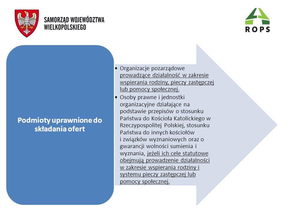 Organizacje pozarządowe prowadzące działalność w zakresie wspierania rodziny, pieczy zastępczej lub pomocy społecznej. Osoby prawne i jednostki organi