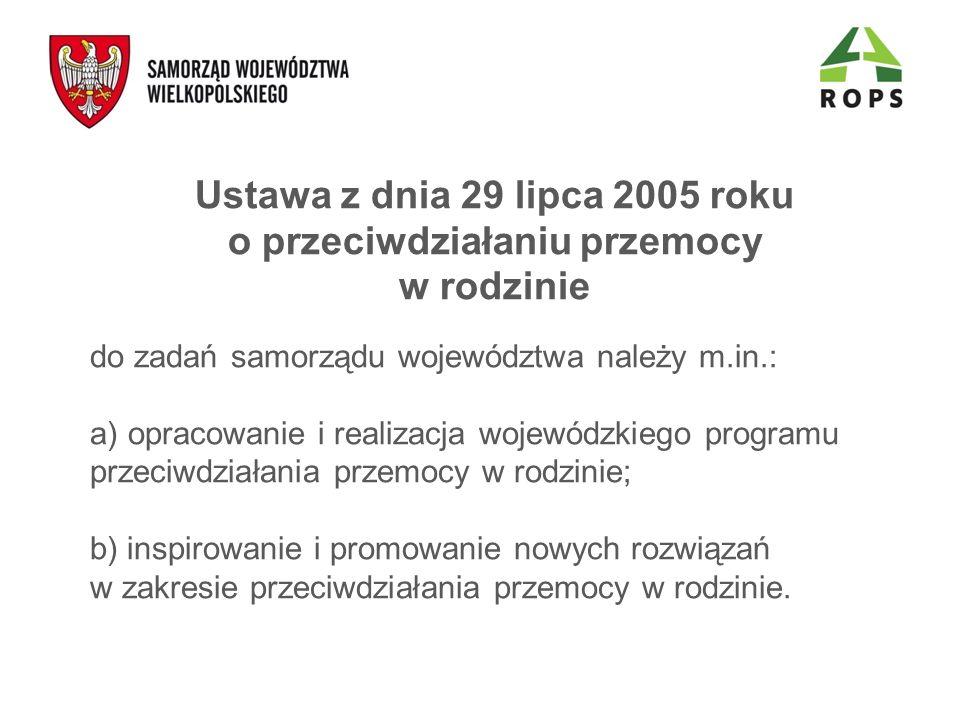 Ustawa z dnia 29 lipca 2005 roku o przeciwdziałaniu przemocy w rodzinie do zadań samorządu województwa należy m.in.: a) opracowanie i realizacja wojew