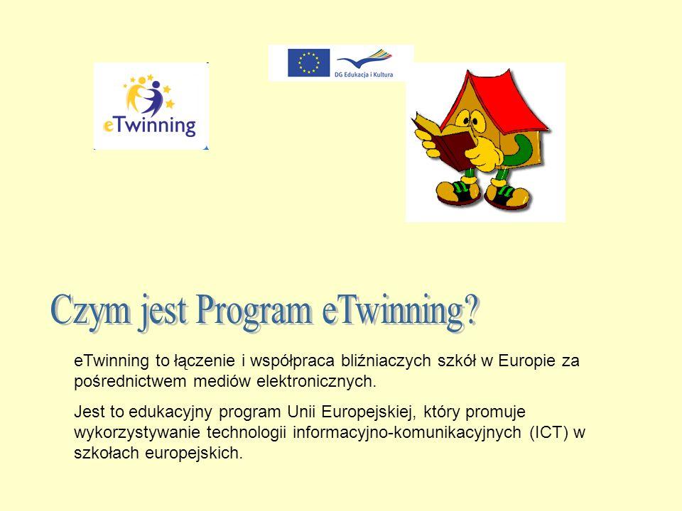 eTwinning to łączenie i współpraca bliźniaczych szkół w Europie za pośrednictwem mediów elektronicznych.