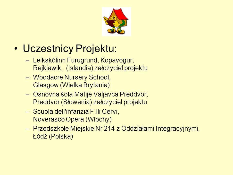 Uczestnicy Projektu: –Leikskólinn Furugrund, Kopavogur, Rejkiawik, (Islandia) założyciel projektu –Woodacre Nursery School, Glasgow (Wielka Brytania)