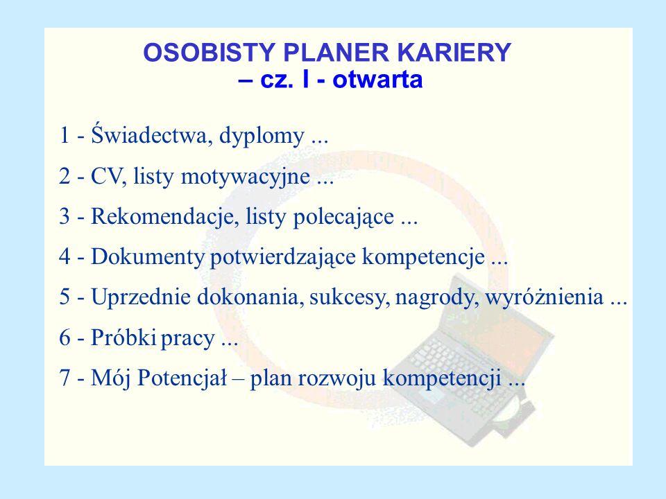 OSOBISTY PLANER KARIERY – cz. I - otwarta 1 - Świadectwa, dyplomy... 2 - CV, listy motywacyjne... 3 - Rekomendacje, listy polecające... 4 - Dokumenty
