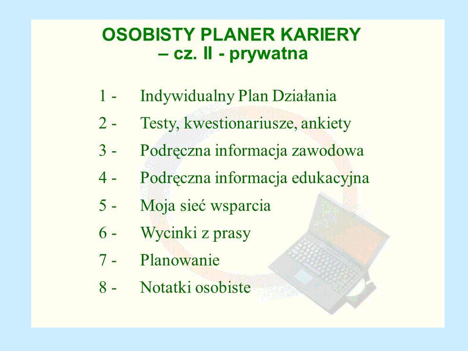 OSOBISTY PLANER KARIERY – cz. II - prywatna 1 - Indywidualny Plan Działania 2 - Testy, kwestionariusze, ankiety 3 - Podręczna informacja zawodowa 4 -