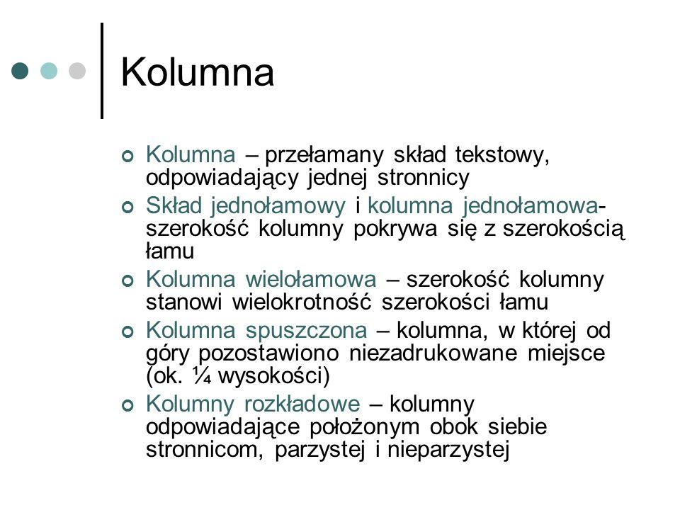 Kolumna Kolumna – przełamany skład tekstowy, odpowiadający jednej stronnicy Skład jednołamowy i kolumna jednołamowa- szerokość kolumny pokrywa się z s