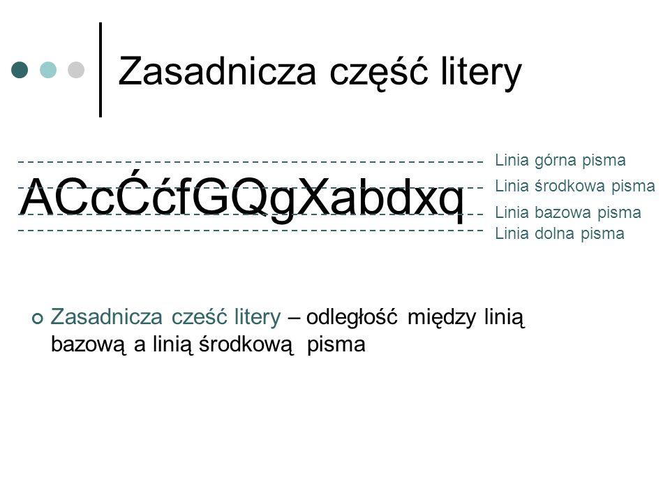 Zasadnicza część litery ACcĆćfGQgXabdxq Linia górna pisma Linia dolna pisma Linia bazowa pisma Linia środkowa pisma Zasadnicza cześć litery – odległoś
