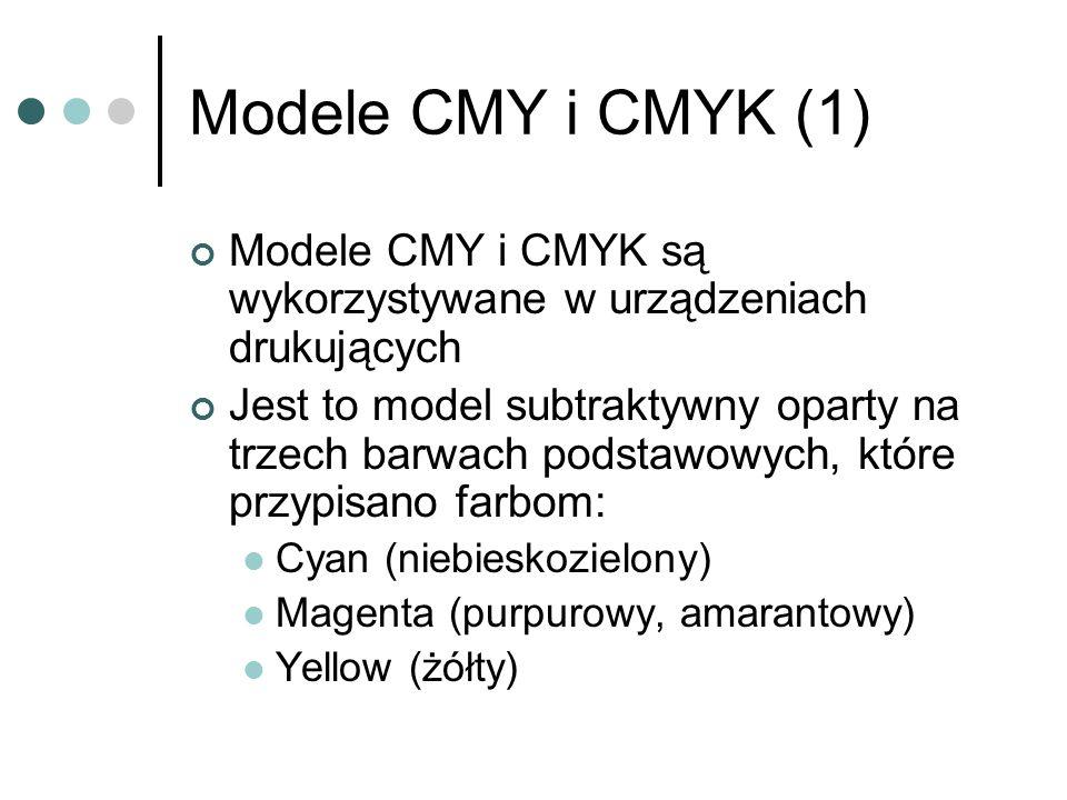 Modele CMY i CMYK (1) Modele CMY i CMYK są wykorzystywane w urządzeniach drukujących Jest to model subtraktywny oparty na trzech barwach podstawowych,