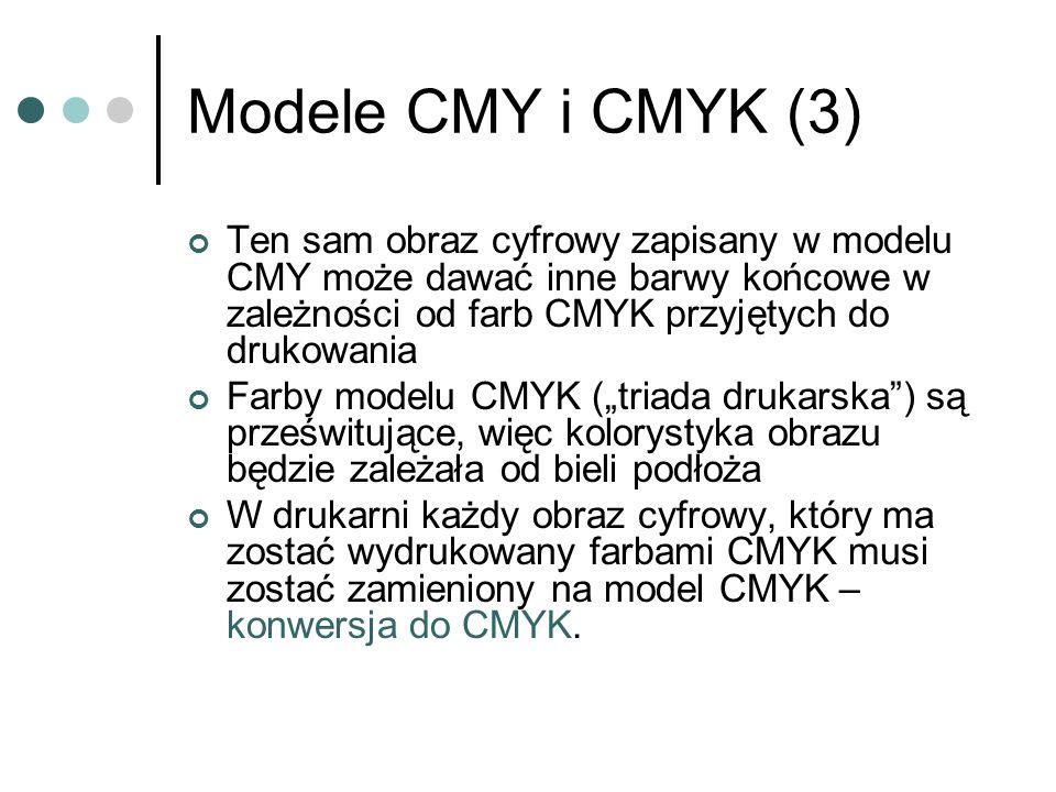 Modele CMY i CMYK (3) Ten sam obraz cyfrowy zapisany w modelu CMY może dawać inne barwy końcowe w zależności od farb CMYK przyjętych do drukowania Far