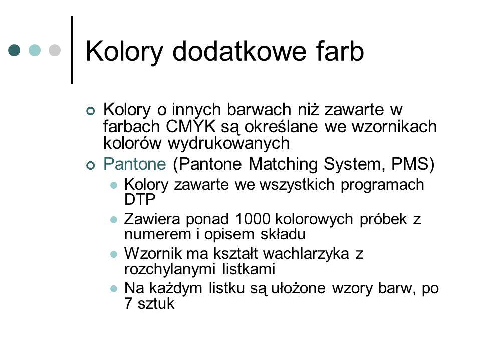 Kolory dodatkowe farb Kolory o innych barwach niż zawarte w farbach CMYK są określane we wzornikach kolorów wydrukowanych Pantone (Pantone Matching Sy