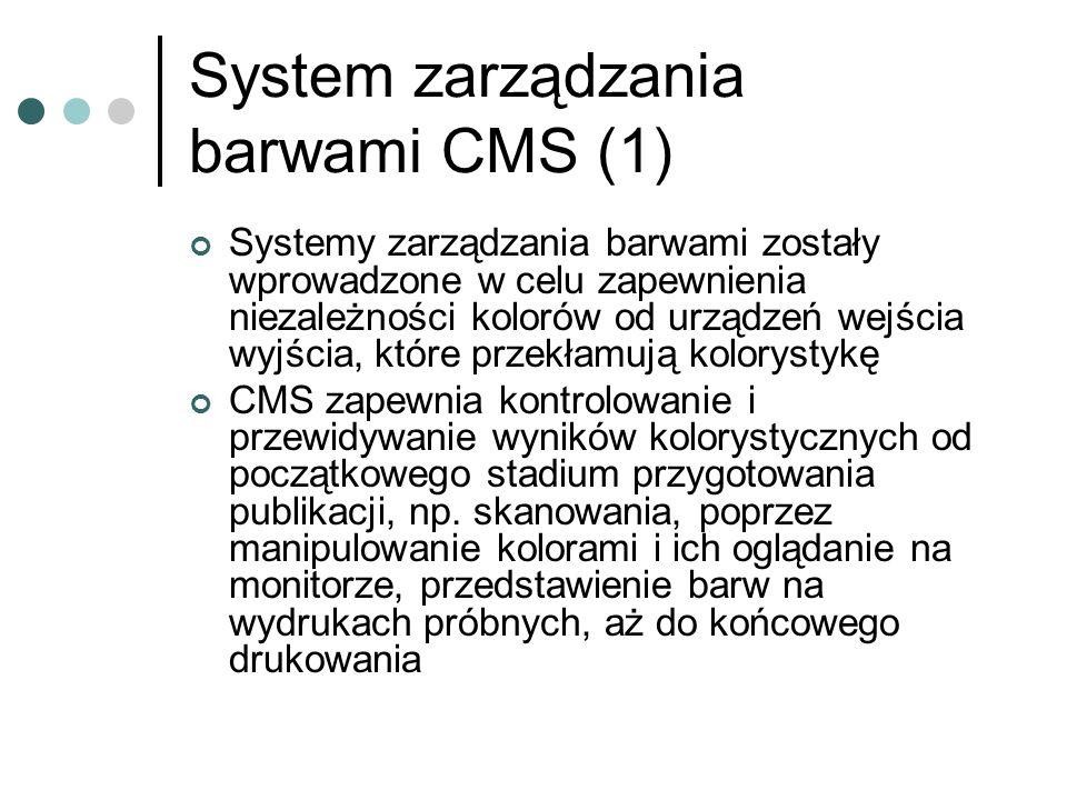 System zarządzania barwami CMS (1) Systemy zarządzania barwami zostały wprowadzone w celu zapewnienia niezależności kolorów od urządzeń wejścia wyjści