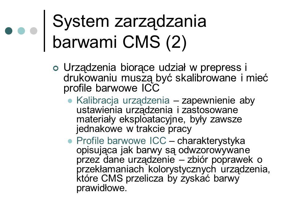 System zarządzania barwami CMS (2) Urządzenia biorące udział w prepress i drukowaniu muszą być skalibrowane i mieć profile barwowe ICC Kalibracja urzą