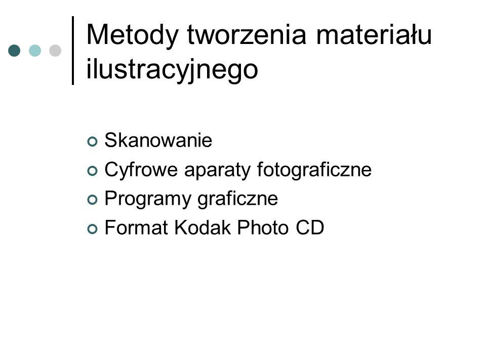 Metody tworzenia materiału ilustracyjnego Skanowanie Cyfrowe aparaty fotograficzne Programy graficzne Format Kodak Photo CD