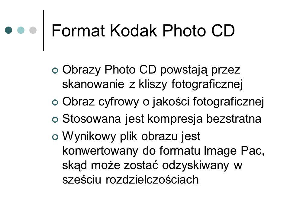 Obrazy Photo CD powstają przez skanowanie z kliszy fotograficznej Obraz cyfrowy o jakości fotograficznej Stosowana jest kompresja bezstratna Wynikowy
