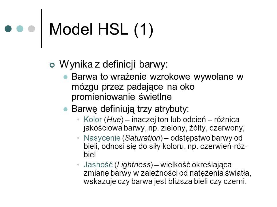 Model HSL (1) Wynika z definicji barwy: Barwa to wrażenie wzrokowe wywołane w mózgu przez padające na oko promieniowanie świetlne Barwę definiują trzy