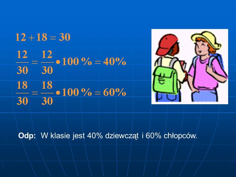 ZADANIE 3 W klasie VI jest 12 dziewcząt i 18 chłopców Jaki procent klasy stanowią dziewczęta a jaki chłopcy? Rozwiązanie