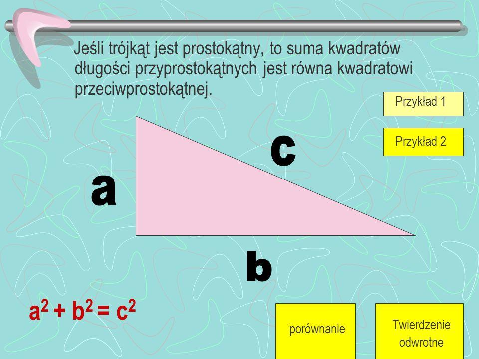 P1+P2=P3 W trójkącie prostokątnym suma pól kwadratów zbudowanych na przyprostokątnych jest równa polu kwadratu zbudowanego na przeciw prostokątnej.