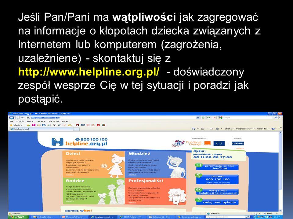 Jeśli Pan/Pani ma wątpliwości jak zagregować na informacje o kłopotach dziecka związanych z Internetem lub komputerem (zagrożenia, uzależniene) - skon