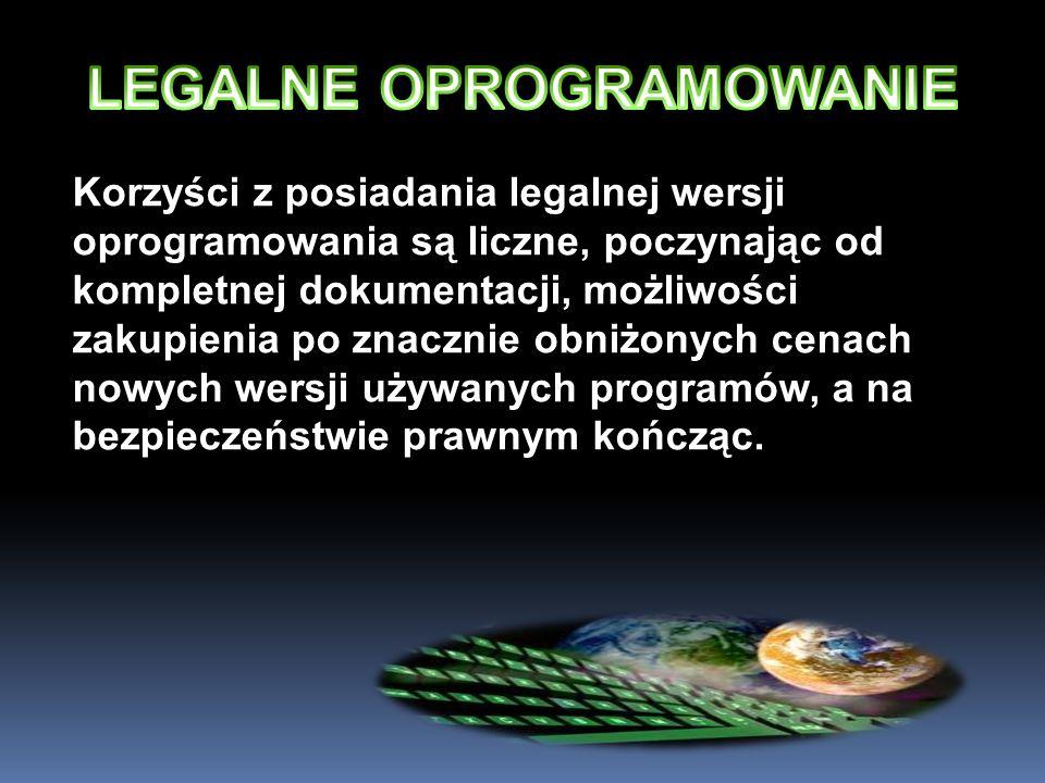Korzyści z posiadania legalnej wersji oprogramowania są liczne, poczynając od kompletnej dokumentacji, możliwości zakupienia po znacznie obniżonych ce