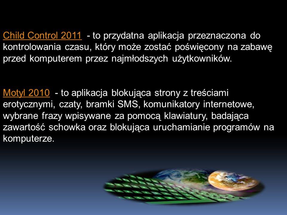 Child Control 2011Child Control 2011 - to przydatna aplikacja przeznaczona do kontrolowania czasu, który może zostać poświęcony na zabawę przed komput