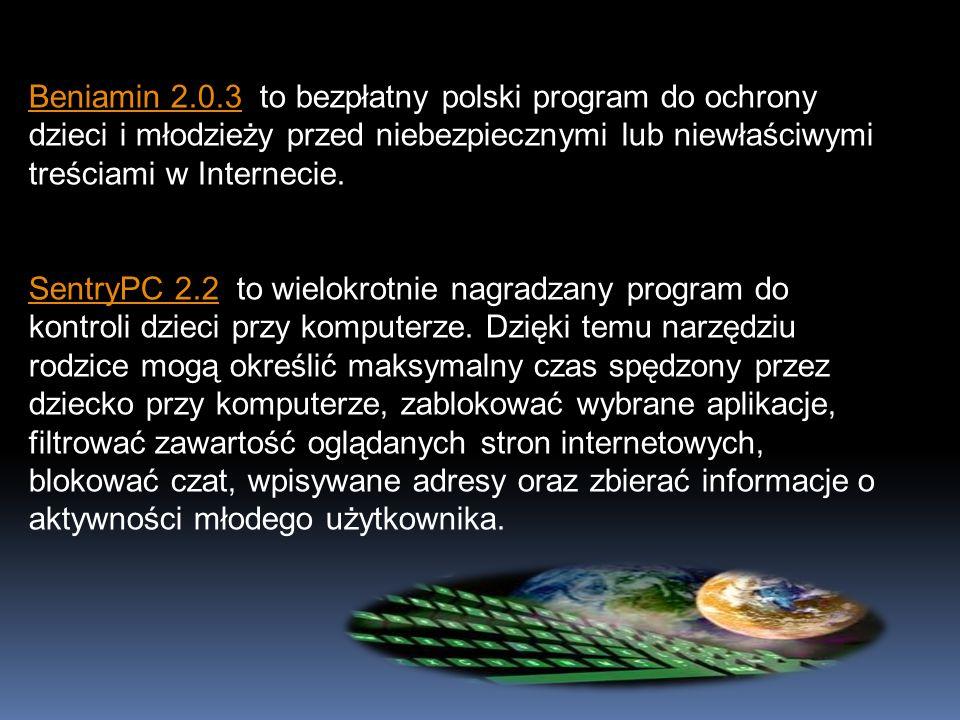 Beniamin 2.0.3Beniamin 2.0.3 to bezpłatny polski program do ochrony dzieci i młodzieży przed niebezpiecznymi lub niewłaściwymi treściami w Internecie.