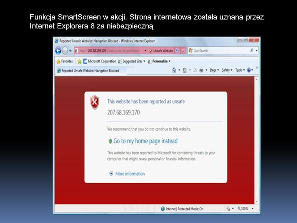 Funkcja SmartScreen w akcji. Strona internetowa została uznana przez Internet Explorera 8 za niebezpieczną