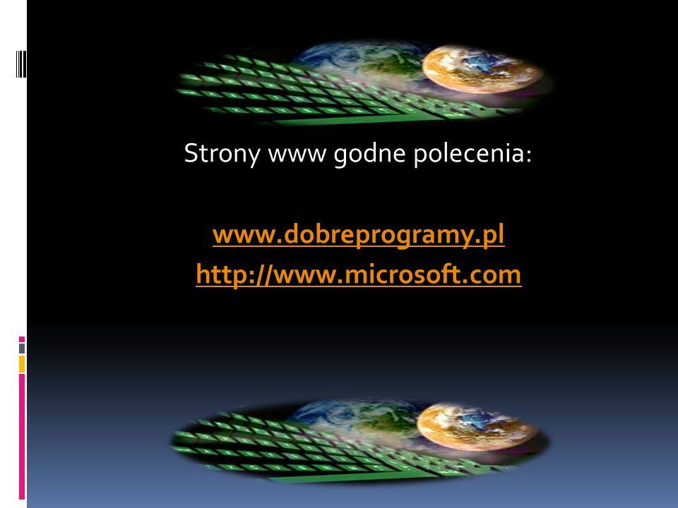 Strony www godne polecenia: www.dobreprogramy.pl http://www.microsoft.com