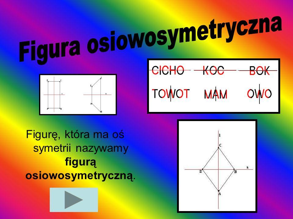 Figurę, która ma oś symetrii nazywamy figurą osiowosymetryczną.
