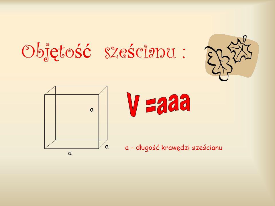 Wzór na objętość prostopadłościanu a b c a, b, c – długości krawędzi wychodzących z jednego wierzchołka prostopadłościanu.