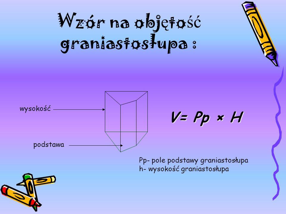 Wzór na obj ę to ść graniastosłupa : wysokość podstawa Pp- pole podstawy graniastosłupa h- wysokość graniastosłupa V= Pp × H