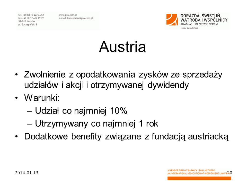 Austria Zwolnienie z opodatkowania zysków ze sprzedaży udziałów i akcji i otrzymywanej dywidendy Warunki: –Udział co najmniej 10% –Utrzymywany co najm
