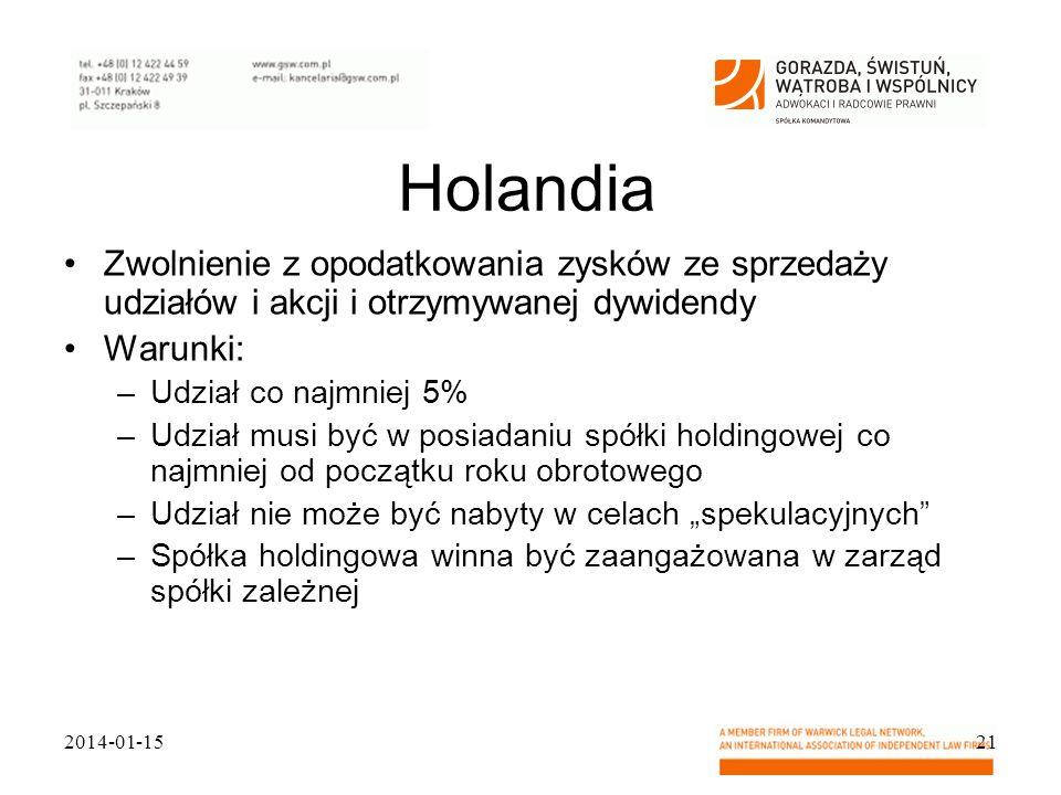 Holandia Zwolnienie z opodatkowania zysków ze sprzedaży udziałów i akcji i otrzymywanej dywidendy Warunki: –Udział co najmniej 5% –Udział musi być w p