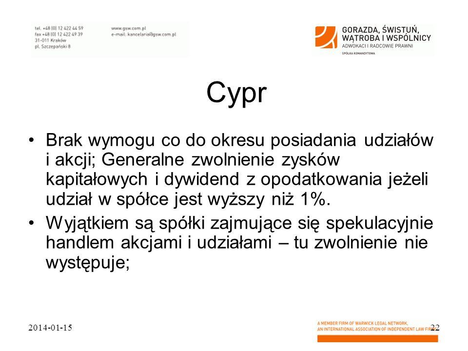 Cypr Brak wymogu co do okresu posiadania udziałów i akcji; Generalne zwolnienie zysków kapitałowych i dywidend z opodatkowania jeżeli udział w spółce