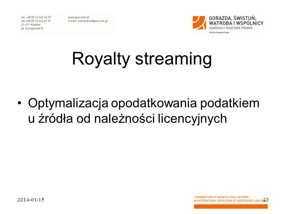 Royalty streaming Optymalizacja opodatkowania podatkiem u źródła od należności licencyjnych 2014-01-1523