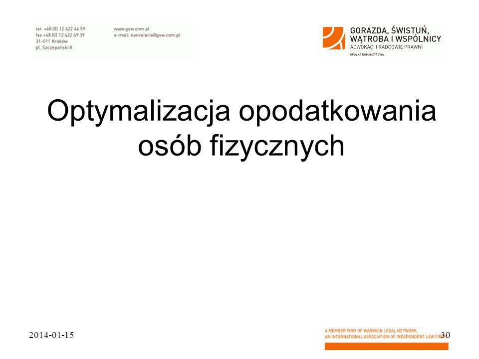 Optymalizacja opodatkowania osób fizycznych 2014-01-1530