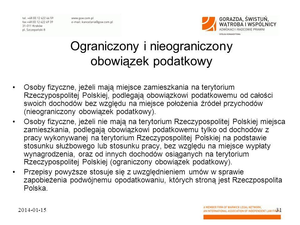 Ograniczony i nieograniczony obowiązek podatkowy Osoby fizyczne, jeżeli mają miejsce zamieszkania na terytorium Rzeczypospolitej Polskiej, podlegają o