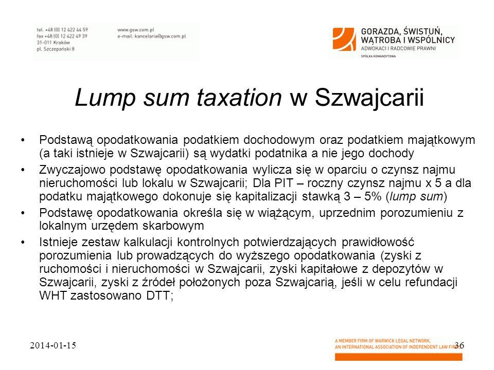 Lump sum taxation w Szwajcarii Podstawą opodatkowania podatkiem dochodowym oraz podatkiem majątkowym (a taki istnieje w Szwajcarii) są wydatki podatni