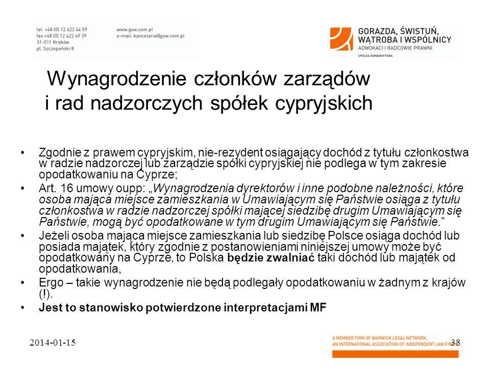 Wynagrodzenie członków zarządów i rad nadzorczych spółek cypryjskich Zgodnie z prawem cypryjskim, nie-rezydent osiągający dochód z tytułu członkostwa