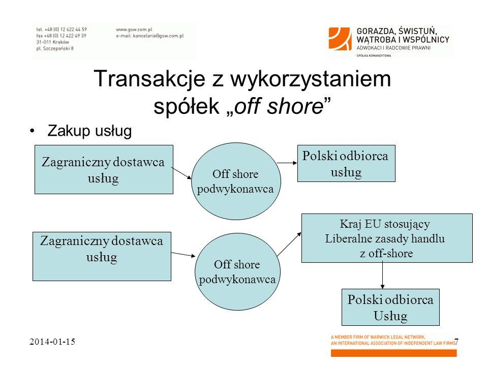 Transakcje z wykorzystaniem spółek off shore Zakup usług 2014-01-157 Zagraniczny dostawca usług Polski odbiorca usług Off shore podwykonawca Zagranicz