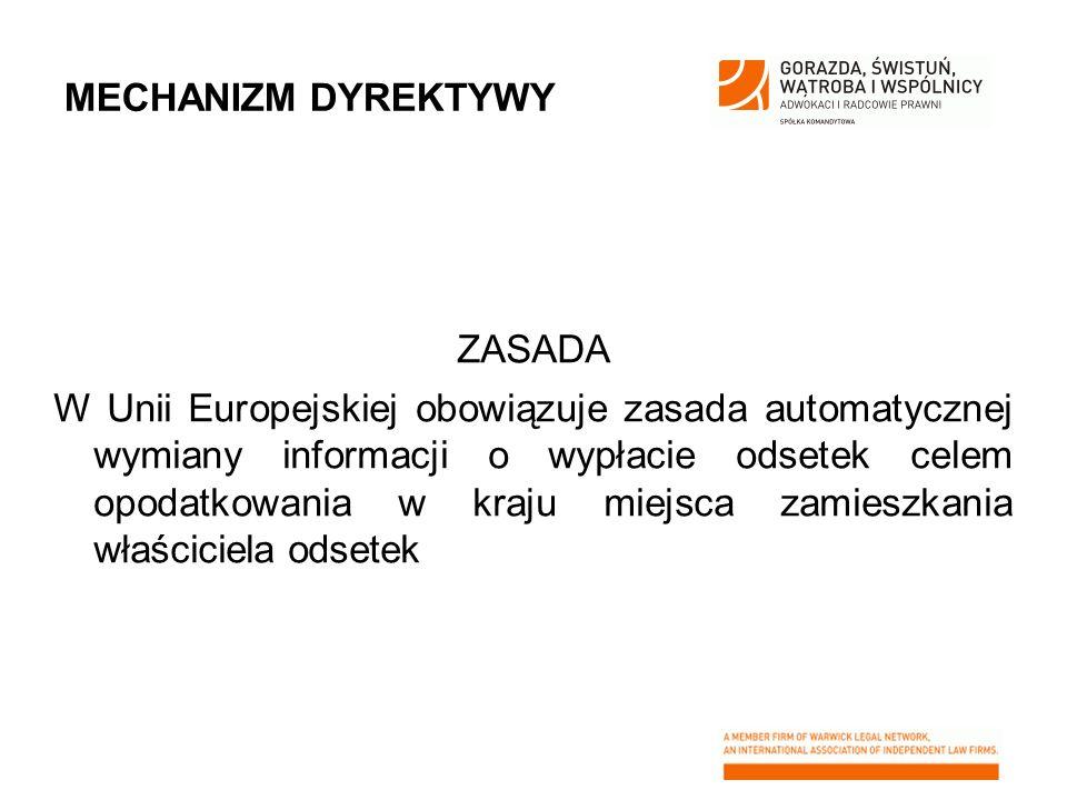MECHANIZM DYREKTYWY ZASADA W Unii Europejskiej obowiązuje zasada automatycznej wymiany informacji o wypłacie odsetek celem opodatkowania w kraju miejs