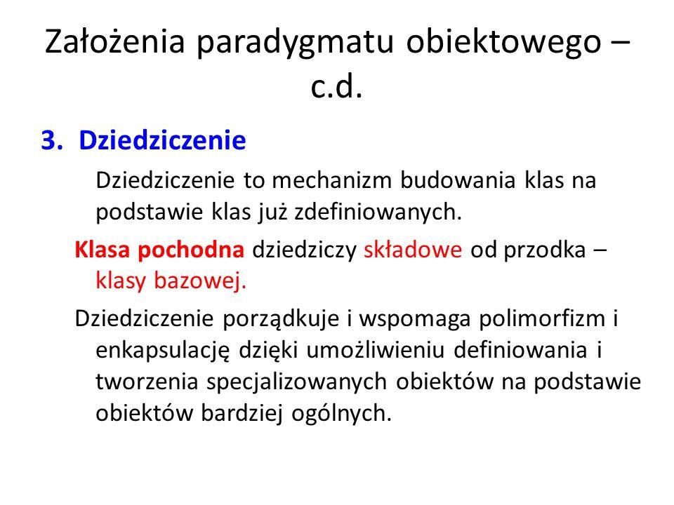 Założenia paradygmatu obiektowego – c.d. 3.Dziedziczenie Dziedziczenie to mechanizm budowania klas na podstawie klas już zdefiniowanych. Klasa pochodn