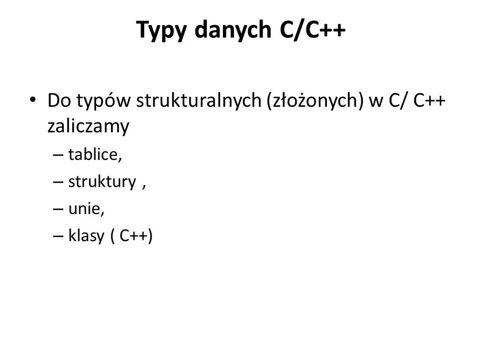 Typy danych C/C++ Do typów strukturalnych (złożonych) w C/ C++ zaliczamy – tablice, – struktury, – unie, – klasy ( C++)