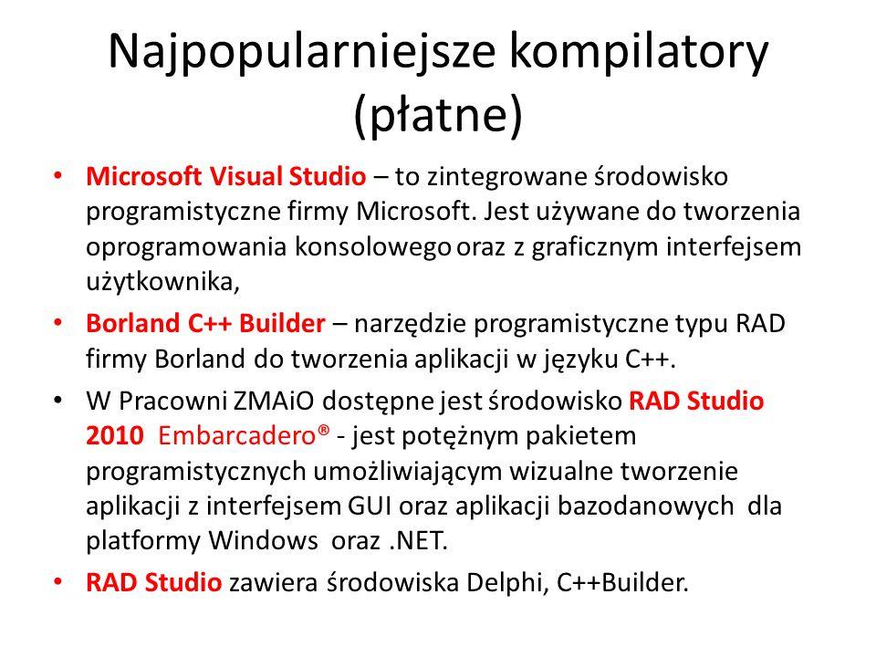 Najpopularniejsze kompilatory (płatne) Microsoft Visual Studio – to zintegrowane środowisko programistyczne firmy Microsoft. Jest używane do tworzenia