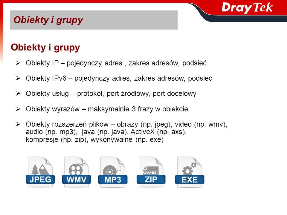 Obiekty IP – pojedynczy adres, zakres adresów, podsieć Obiekty IPv6 – pojedynczy adres, zakres adresów, podsieć Obiekty usług – protokół, port źródłow