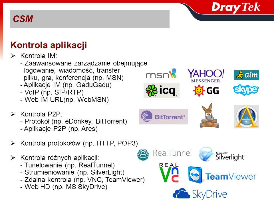 Kontrola IM: - Zaawansowane zarządzanie obejmujące logowanie, wiadomość, transfer pliku, gra, konferencja (np. MSN) -Aplikacje IM (np. GaduGadu) - VoI