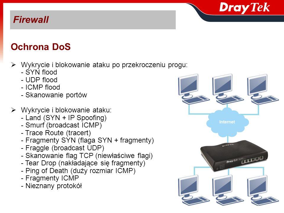 Firewall Ochrona DoS Wykrycie i blokowanie ataku po przekroczeniu progu: - SYN flood - UDP flood - ICMP flood - Skanowanie portów Wykrycie i blokowani
