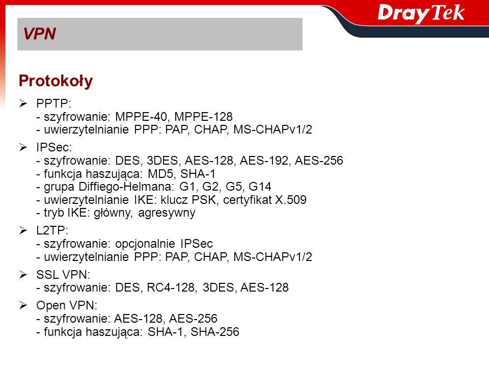 Protokoły PPTP: - szyfrowanie: MPPE-40, MPPE-128 - uwierzytelnianie PPP: PAP, CHAP, MS-CHAPv1/2 IPSec: - szyfrowanie: DES, 3DES, AES-128, AES-192, AES