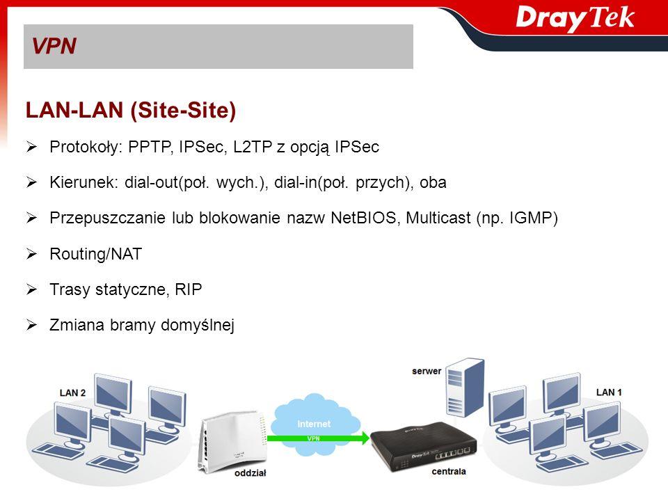 VPN LAN-LAN (Site-Site) Protokoły: PPTP, IPSec, L2TP z opcją IPSec Kierunek: dial-out(poł. wych.), dial-in(poł. przych), oba Przepuszczanie lub blokow